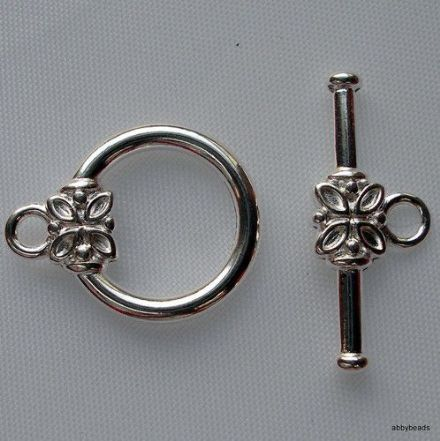 10 Toggle flower clasp Silver plated 20 mm bar X 12 mm loop